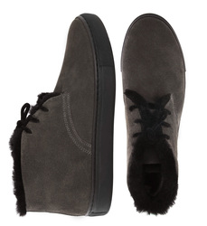 Man's boots made of natural suede Lapti gray with a woolen heater