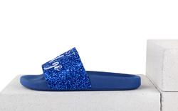 Шлепанцы ярко-синее мерцание вышивка медуза (W)