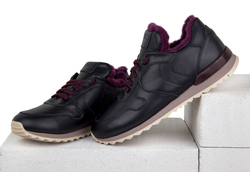 Women's sneakers made of genuine leather Lapti black with burgundy fur