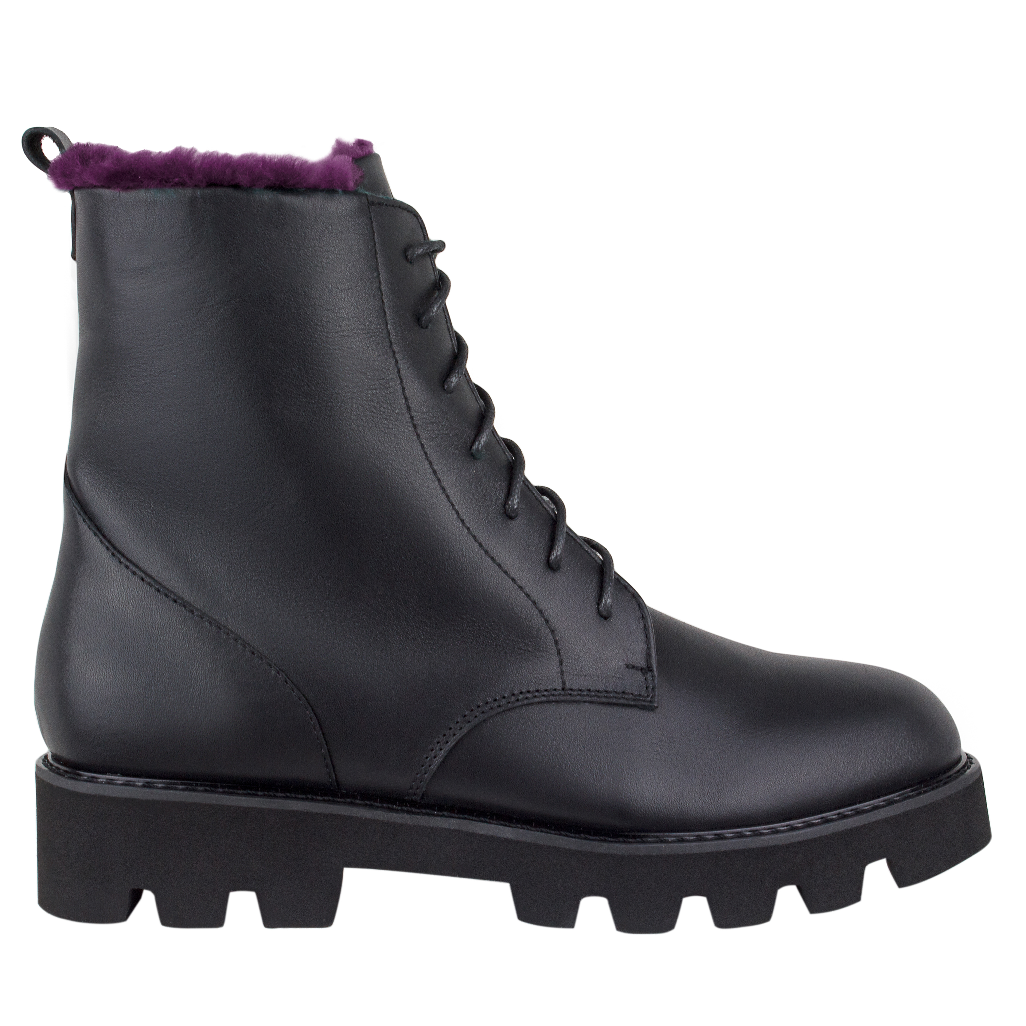 Women's high boots made of genuine leather Lapti black on burgundy fur