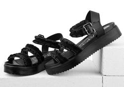 Черные сандалии декор бархатные рюши
