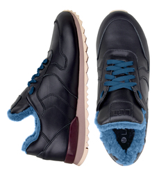 Women's sneakers made of genuine leather Lapti black with blue fur