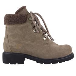 Замшевые ботинки бежевые на меху с декором из каракуля (W)