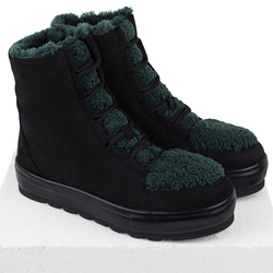 Women's boots made of natural nubuck Lapti black on green astrakhan fur