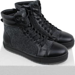 Ботинки мужские из натуральной кожи и войлока Lapti черные утепленные