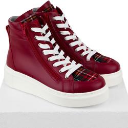 Кожаные красные ботинки на утеплителе с текстилем клетка (W)
