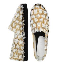 Еспадрільі жіночі з текстилю Lapti білі c декором з квітів