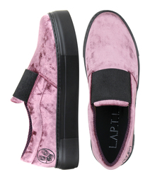 Women's slip-ons velvet Lapti pink with a wide elastic band