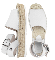 Women's espadrilles made of genuine leather Lapti white on high sole