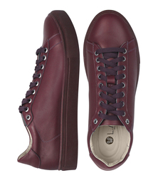 Women's sneakers made of genuine leather Lapti burgundy