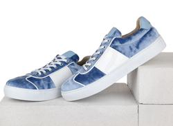 Бархатные голубые кеды комби кожа, лак 9414(W)