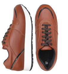 Brown leather sneakers with patent leather insert (W)