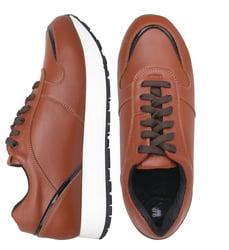 Кожаные коричневые кроссовки с лаковой вставкой (W)