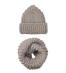 Комплект шапка и снуд из шерсти Lapti бежевый