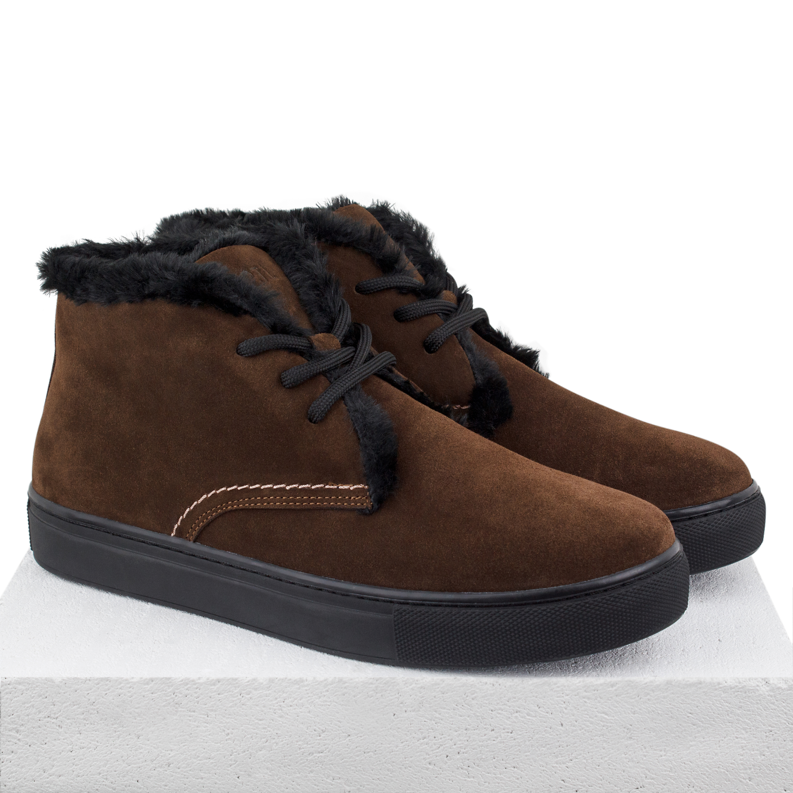 Man's boots made of natural suede Lapti brown with a woolen heater