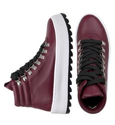 Ботинки бордовые на шнуровке с утеплителем  (W)