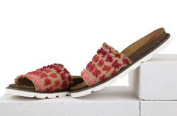 Women's flip-flops made of textile Lapti red with flower decor