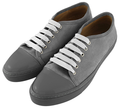 Замшевые слипоны серые на шнурках с вставкой из лаковой кожи (W)
