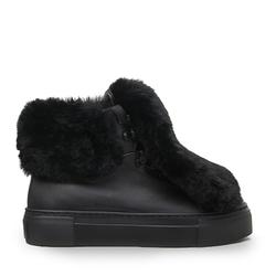 Кожаные черные ботинки с накладным мехом(W)