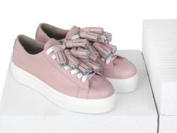 Шкіряні рожеві кеди без підкладки (W)