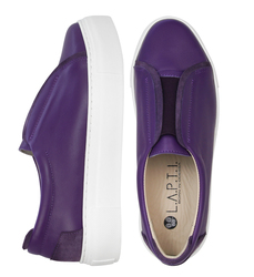 Purple leather elastic band slip-on shoes (W)