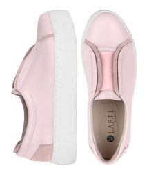 Light pink leather slip-on with an elastic band (W)