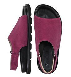Замшевые бордовые сандалии на липучке (W)