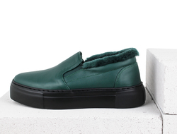 Dark green leather fur-lined slip-on shoes (W)
