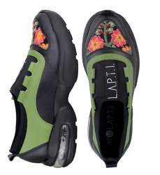 Combined sneakers Green Textile Flowers (W)