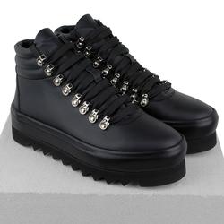 Ботинки женские из натуральной кожи Lapti черные на шнуровке с утеплителем