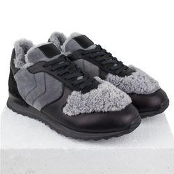 Кожаные кроссовки черные мех снаружи (M)