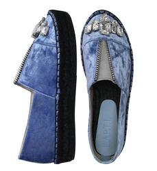 Бархатные голубые эспадрильи змейка, камни