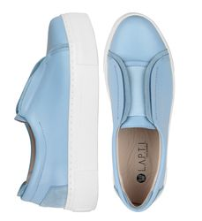 Light blue leather elastic band slip-on shoes (W)