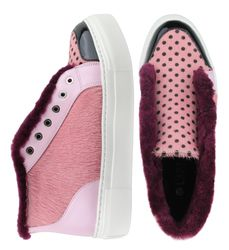 Women's slip-on made of genuine leather Lapti pink peas with a pony print