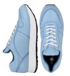 Кожаные голубые кроссовки с лаковой вставкой (W)