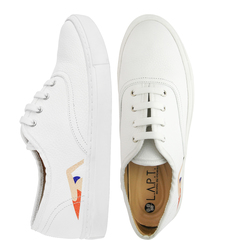 Women's high sneakers made of genuine leather LAPTIxPOUSTOVIT white print swimmer