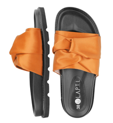 Women's flip-flops made of textile Lapti orange with bow