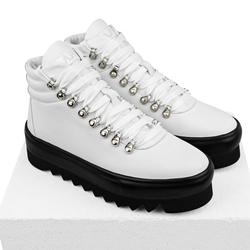 Ботинки кожа белые на шнуровке с утеплителем_8140 (W)
