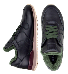 Women's sneakers made of genuine leather Lapti black with green fur