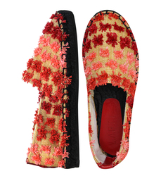 Еспадрільі жіночі з текстилю Lapti червоні c декором з квітів