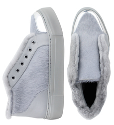 Women's slip-on made of genuine leather Lapti light gray on fur with a pony print