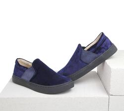 Бархатные синие слипоны (K)