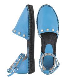Сандалии женские из натуральной кожи Lapti синие с бусинами