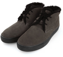 Fur-lined grey suede ankle boots (M)