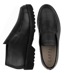 Туфли мужские высокие из натуральной кожи Lapti черные с резинкой на подъеме