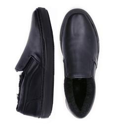 Man's slip-ons made of genuine leather Lapti dark blue on fur