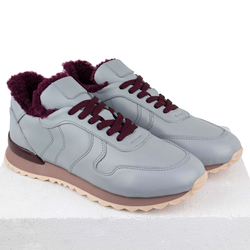 Women's sneakers made of genuine leather Lapti gray with burgundy fur