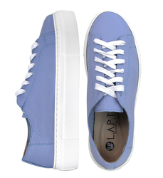 Women's sneakers made of genuine leather Lapti light blue without lining