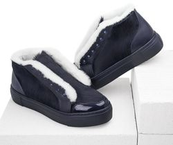 Women's slip-on made of genuine leather Lapti dark blue on fur with a pony print