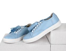 Кеды голубые с перфорацией кожаные голубые кисточки (W)